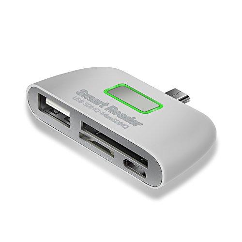 HZSSEC Micro USB OTG Adapter, 4-in-1 Micro SD Kartenleser, OTG Nabenadapter, USB 2.0 Ladeanschluss, SDHC TF Kartenleseradapter, Andriod Kartenleser, multifunktionaler OTG Kartenleser für Smartphone (weiß)