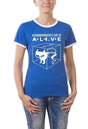 Touchlines Damen Kontrast T-Shirt Schroedingers Cat Is Alive Girlie Ringer, navy, M, B220213GR (Cat T-shirt Ringer)