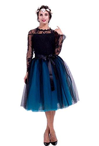 Honeystore Damen's Rock Knielang Petticoat Unterrock Tutu Tüll 7 Schichten Elegant Sommer Elastic Bund in Mehreren Farben Schwarz und Blau One Size (Tweed-rock A-line)