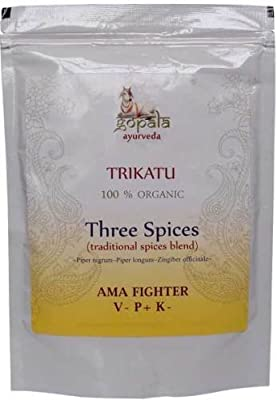 Organic Trikatu Powder 250g Three Spices Traditional Spices Blend (Black Pepper - Piper nigrum) (Long pepper - Piper longum) (Ginger - Zingiber officinale) from Gopala Ayurveda
