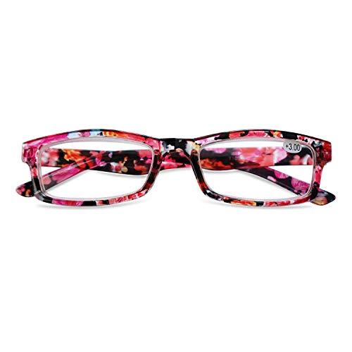 KOOSUFA Lesebrille Damen Blumen Qualität Rechteckige Anti Müdigkeit Brille Lesehilfe Sehhilfe Retro Designer Mode Vollrandbrille mit Stärke 1.0 1.5 2.0 2.5 3.0 3.5 4.0 (Rot, 2.5)