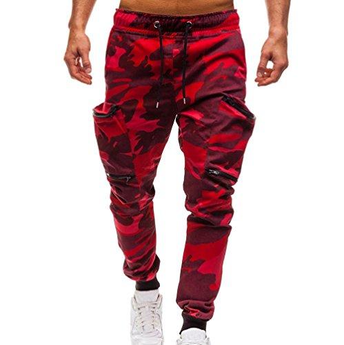 KPILP Mode Herren Kordelzug Camouflage Classic Camo Jogginghose Reißverschluss Taschen Schweiß Haremshose(Tarnung, L