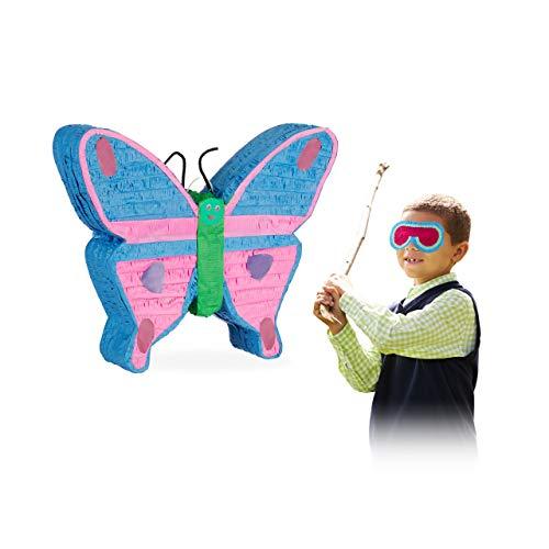Relaxdays 10025187 Pinata Schmetterling, zum Aufhängen, für Kinder, Mädchen, Geburtstag, zum Befüllen, aus Papier, Piñata, bunt