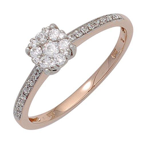 Dreambase Damen-Ring Rotgold und Weißgold kombiniert 14 Karat (585) Rotgold 29 Diamant 0.32 ct. 58 (18.5)