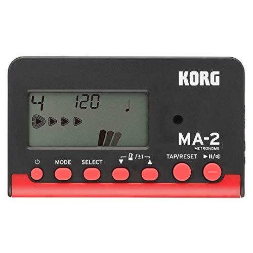 KORG MA-2 - Metrónomo digital de bolsillo con pantalla LCD, negro y rojo