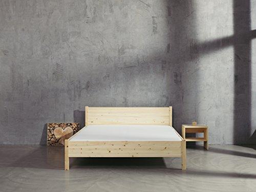 Holzlandmanufaktur Zirbenbett 180x200 cm metallfrei, Zirbenholzbett mit Rückenlehne (180x200cm)