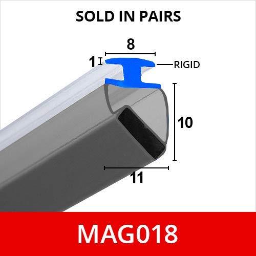 90° Eckdichtung magnetisch Duschdichtung für Kanäle - Verkauf paarweise - Weiche, flexible faltbare weiße Gummi-T mit Magnet - passt in 9 mm Kanal - 2 Meter lang - MAG018 -