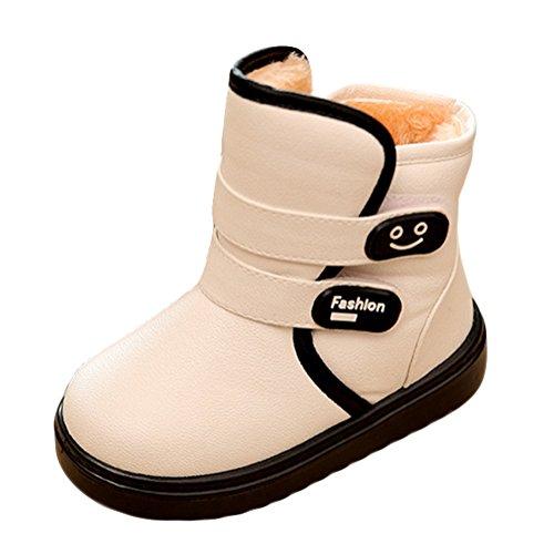 Fortuning's JDS Enfants Unisexe hiver épaississement chaud étanche Bottes de neige PU Velcro bottes courtes Blanc