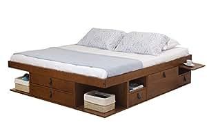 lit multifonction bali 180x200 king size caramel avec beaucoup d 39 espace de rangement et des. Black Bedroom Furniture Sets. Home Design Ideas