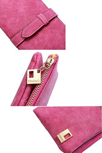 XKMON In pelle Nabuk lunga cerniera borsa del portafoglio delle donne di modo di Lady Portafogli 189 Marrone Grigio