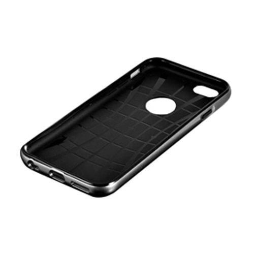 F8Q luxe métal Bumper Case PU cuir de couverture Protecteurs pour Apple Iphone 6 Bleu
