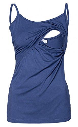Happy Mama. Femme Top de Maternité d'Allaitement Bretelles Double Couches. 133p Bleu Jeans