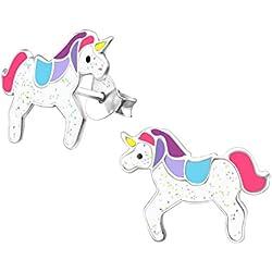 laimons Kids Niños de pendientes Niños joyas Unicornio Multicolor brillo multicolor plata de ley 925