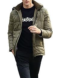 Queenshiny Short Men's Down Coat Jacket white duck down filling hooded uk size M L XL XXL