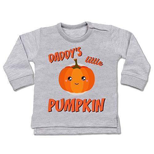 Shirtracer Anlässe Baby - Daddys Little Pumpkin Halloween - 6-12 Monate - Grau meliert - BZ31 - Baby Pullover (Halloween 9 2019)