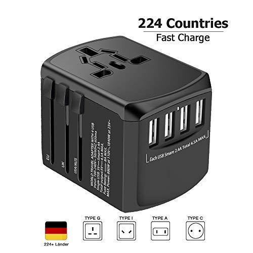 Adattatore Universale da Viaggio - Evershop USB Adattore Internazionale da Viaggio per USA Thailandia UK Asia, Oltre 224 Paesi, con 4 Porte USB + Spina di Ricarica e A