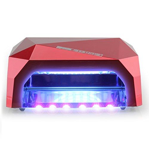 Gellen 36W professionelles UV CCFL LED Lichthärtungsgerät Diamantform mit Timer (10sek, 30sek, 60sek) und Eischaltautomatik Lichtschranke UV-Lampe LED-Lampe Nageltrockner Nagellampe,rot - 4