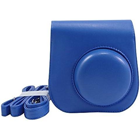 Alohallo Cámara instantánea mini 8/8 + PU Bolsa de Carring Fujiflim Instax Mini 8 con correa para el hombro y bolsillo - azul