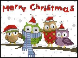 búhos familia buhos Navidad contados puntada Kit, 11ct, puntadas 84x63stitch 29x25cm contó Cruz Cruz