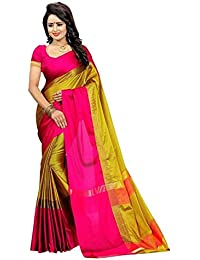 Tulsi Fab Ellegant Yellow Cotton Silk Saree With Blouse