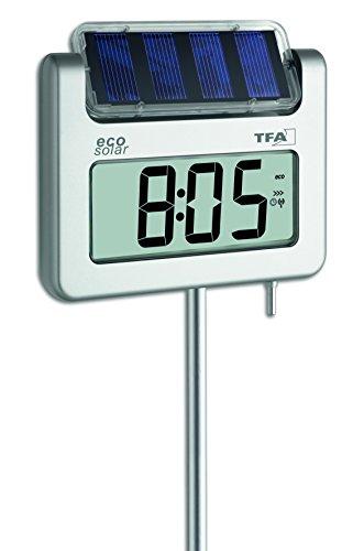 TFA Dostmann AVENUE PLUS Digitales Gartenthermometer mit Solarbeleuchtung Silber 17x4x114 cm -