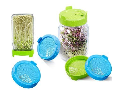 sohapy, 6 coperchi in plastica per vasetti a bocca larga, facili da sciacquare e drenare, per coltivare fagioli, germogli con guarnizioni in silicone