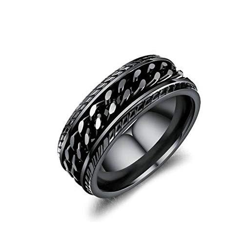 Aeici Edelstahlringe für Herren Silber Panzerkettenring Ringe Schwarz Ringgröße 60 (19.1)
