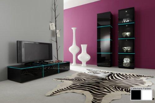 Dreams4Home Regalschrank Square Wohnzimmer Regal weiß o schwarz hochglanz opt LED-RGB-Beleuchtung, Beleuchtung:ohne Beleuchtung;Farbe:Weiß - 2