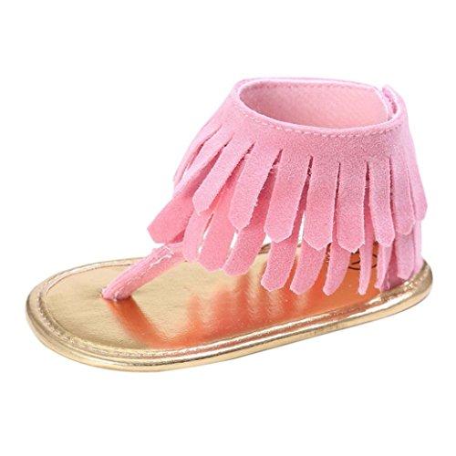 Manadlian Chaussures Bébé Fille Sandales Chaussures Fleur Doux Semelle Anti-Dérapant Bébé Sneakers (0~6 Mois, Rose)