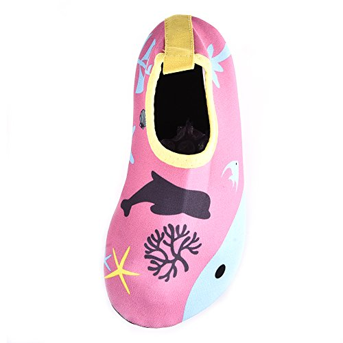 Kinder Atmungsaktiv Aqua Schuhe Bequeme rutschfeste und schnelle trockene AquaSchuhe Strand Schuhe Pool Schuhe Sport Schuhe mit schönen Cartoon Muster für Unisex Kinder A
