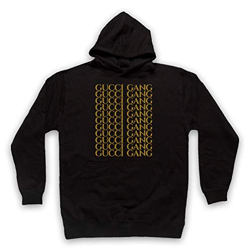 18e0f7c96574 Inspired Apparel Inspired by Lil Pump Gucci Gang Gold Print Unofficial  Adults Hoodie, Black,