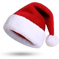 Weihnachtsmütze Nikolausmütze Plüsch Rand Weihnachtsfeier Rot Santa Mütze Nikolaus Dicker Fellrand aus Plüsch kuschelweich & angenehm Für Erwachsene by KONVINIT
