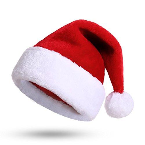 Weihnachtsmütze Nikolausmütze Plüsch Rand Weihnachtsfeier Rot Santa Mütze Nikolaus Dicker Fellrand aus Plüsch kuschelweich & angenehm Für Erwachsene by ()