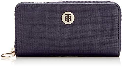 Tommy hilfiger effortless saffiano za wallet, portafoglio donna, blu (tommy navy), 2x11x19 centimeters (b x h x t)