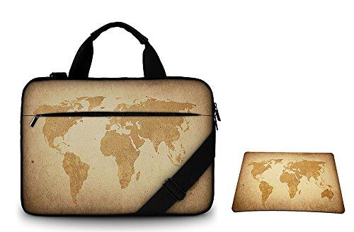 Silent Monsters Canvas Schutzhülle mit Zubehörfach/Mauspad 39,6 cm (15,6 Zoll) für Laptop braun global map
