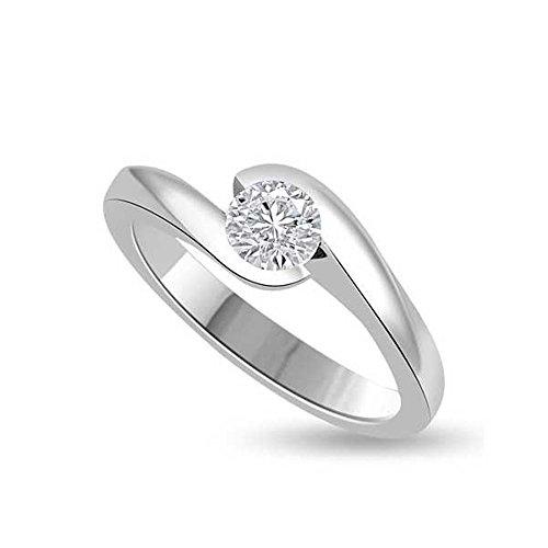 0.25ct H/SI1 Solitär Diamant Verlobungsring für damen mit Runder Brillantschliff Diamanten in 18kt (750) Weißgold (Size 52) (Ein Diamant Verlobungsringe)