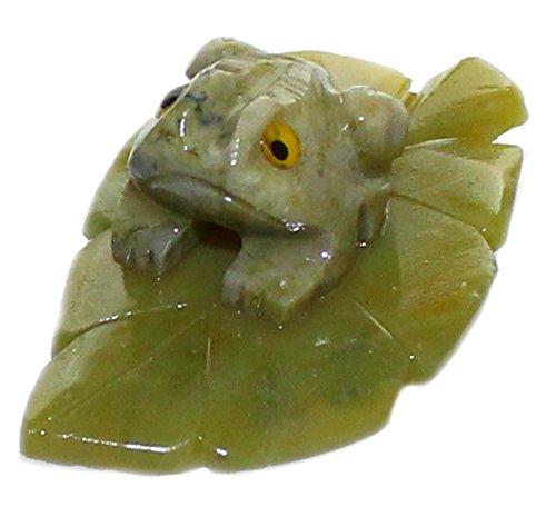Budawi® - Serpentin Edelstein Figur Frosch auf Blatt ca.40mm, Dekofigur Frosch, Edelsteinfigur