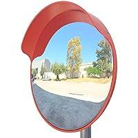 ECM-45o Espejo de seguridad, convexo y flexible, de 45 cm de diámetro, para garantizar la seguridad en calles y en tiendas, con soporte de fijación ajustable para poste de 48 mm