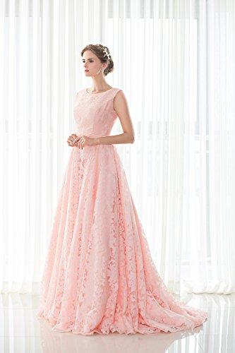 KekeHouse® Robe De Soirée Sans Manche Robe De Bal En Dentelle Longue Robe De Femme A-ligne Taille Empire Rose