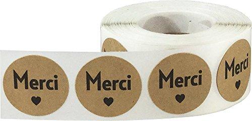 Marrón Kraft Circulo con Negro Merci Pegatinas, 25 mm 1 Pulgada Redondo, 500 Etiquetas en un Rollo