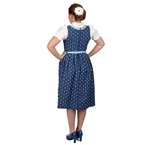 Dirndl Kostüm Midi Kleid mit Bluse u Schürze für Damen blau weiß Weiß