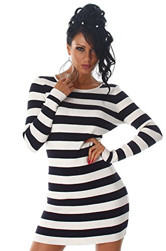 Luxestar Damen Strickkleid & Pullover im Streifen-Design Navy