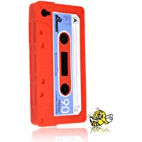 iPhone 4S / iPhone 4 Hülle RETRO Kassette ROT - HELLBLAU von HORNY PROTECTORS® mit dem Original Notfallbumper®