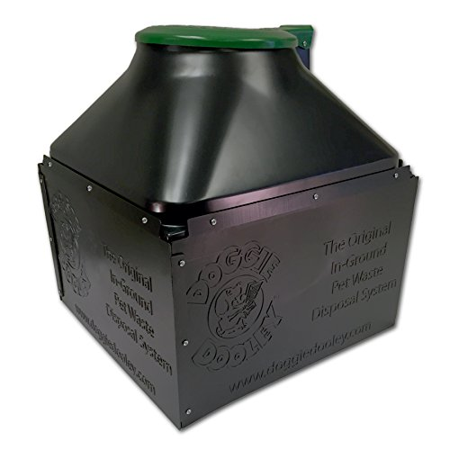 Doggie Dooley hochwertiges Hundekot-Entsorgungssystem zum Einsetzen System, schwarz mit Deckel, - Großer Hund-wasser-station