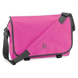 Gecko Bag Collection Messenger Bag / Schultertasche mit appartem Stickdesign, ideal für Schule, Büro und Freizeit. (Einheitsgröße, Fuchsia / Grey)