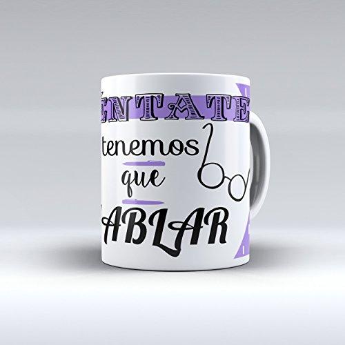 """Taza cerámica desayuno regalo original profesión psicólogo psicóloga """"Siéntate, tenemos que hablar"""""""