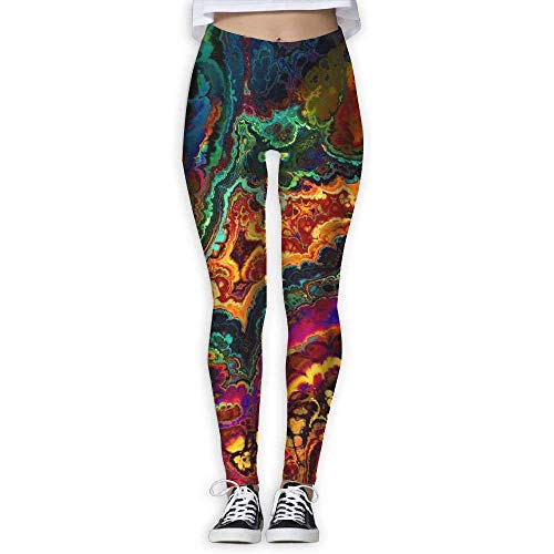 Deglogse Yogahosen, Trainingsgamaschen,Women's Trippy Space Print Sports Gym Yoga Leggings Pants