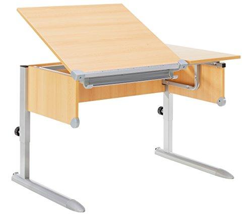 Kettler Kids Comfort ll Schülerschreibtisch – 6-fach höhenverstellbarer Kinderschreibtisch MADE IN GERMANY – flexible Tischplatte – höhen- und neigungsverstellbarer Schreibtisch – Buche & silber - 3