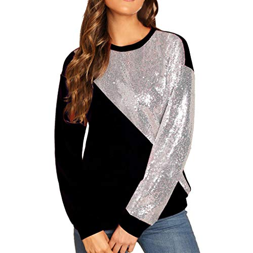 VJGOAL Damen Bluse, Tops Damen Mode blings Pailletten Farbblock Oansatz Langarm Patchwork Sweatshirt Pullover(Schwarz,34)