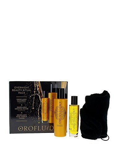 OROFLUIDO Overnight Beauty Ritual Pack: Shampoo 200 ml / 6.7 fl.oz. + Original Elixir 50 ml / 1.6 fl.oz + Hair Turban Towel by Orofluido